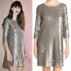 BB Dakota Silver Metalic Sequin Dress